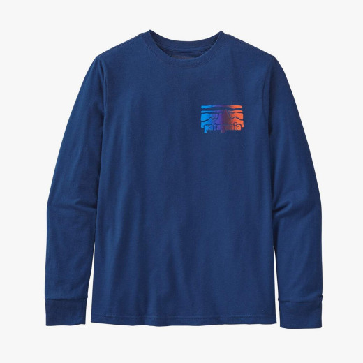 Bluza Copii Patagonia Boys' L/S Graphic Organic T-Shirt Fitz Roy Rambler: Superior Blue