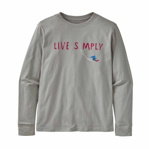 Bluza Copii Patagonia Boys' L/S Graphic Organic T-Shirt Live Simply Shred: Salt Grey