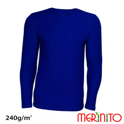 Bluza Barbati Merinito 240G Lana Merinos Si Bambus Albastru Bluza Barbati Merinito 240G Lana Merinos Si Bambus Albastru