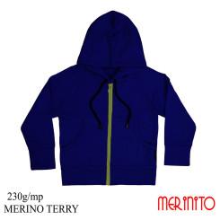 Hanorac Copii Merinito French Terry 100% Lana Merinos Albastru Hanorac Copii Merinito French Terry 100% Lana Merinos Albastru